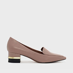 Metallic Accent Heel Loafers