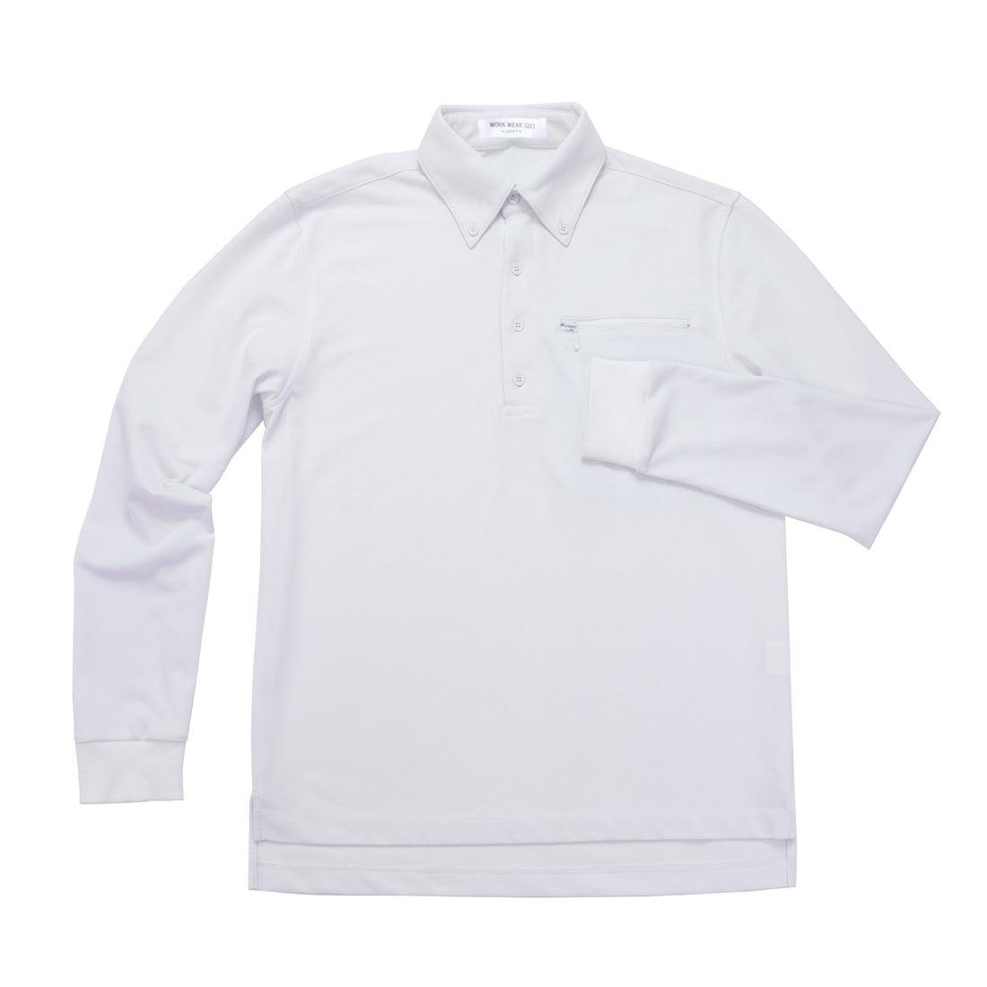 MENS 長袖ワークビズポロシャツ(ホワイト)