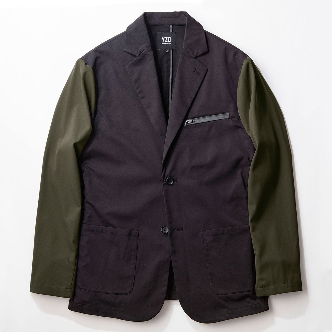 YZO バイカラーテーラードジャケット(カーキ×ブラック)