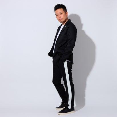 YZO【宮迫Edition】サイドラインストレートパンツ (ブラック×オフホワイト)