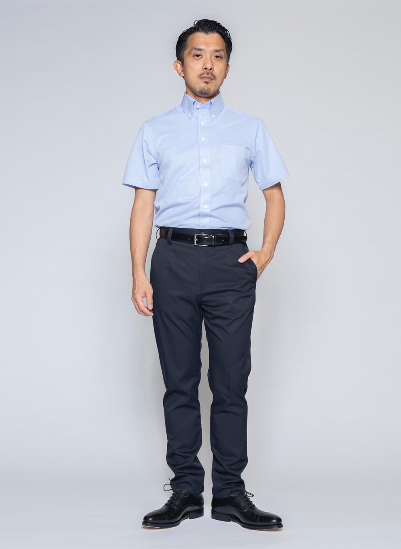 究極の半袖ボタンダウンシャツ(サックス)